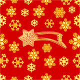 Vecteur sans couture de comète et de flocons de neige de Noël de texture Photographie stock libre de droits