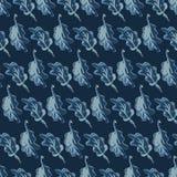 Vecteur sans couture de feuilles de modèle tiré par la main d'indigo Batik de bleu d'indigo illustration libre de droits