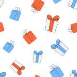 Vecteur sans couture de modèle de boîte-cadeau Photos libres de droits