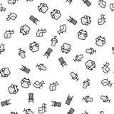 Vecteur sans couture de modèle de collection intérieure de chaise illustration stock