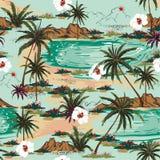 Vecteur sans couture de modèle d'île d'Hawaï d'été lumineux Paysage illustration stock