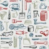 Vecteur sans couture de modèle d'instruments d'outils Photos stock