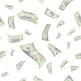 Vecteur sans couture de modèle de dollars US de vol Factures d'argent de bande dessinée Finances en baisse chaque dénomination da Photographie stock libre de droits