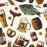 Vecteur sans couture de modèle de nourriture de bière Photo libre de droits