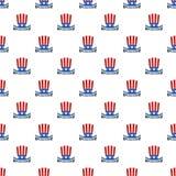 Vecteur sans couture de modèle de jour de constitution de chapeau des Etats-Unis illustration stock
