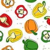 Vecteur sans couture du rouge, du jaune et des poivrons verts Remettez le dessin des poivrons doux bulgares, paprika, grains de p illustration libre de droits