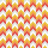 Vecteur sans couture, résumé, rouge, orange, rétro, modèle de flèche de pixel Photos stock
