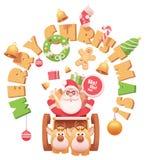 Vecteur Santa Claus avec des rennes illustration stock
