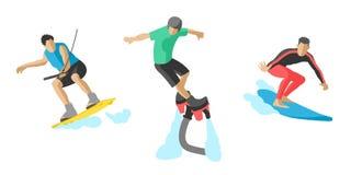Vecteur sautant le patin de rouleau réglé de planchiste de parachutiste de vitesse d'athlètes de silhouettes d'illustration de pl Photographie stock