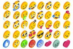 Vecteur social de bouton de réactions réglées d'émoticône d'Emoji illustration stock