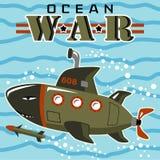 Vecteur submersible militaire sous-marin de bande dessinée illustration de vecteur