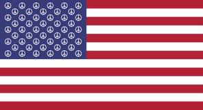 Vecteur Symbole de paix sur un fond du drapeau des USA Images stock