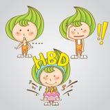 Vecteur thaïlandais doux de bande dessinée de sucrerie de fille de caractère images libres de droits