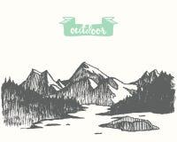 Vecteur tiré de lac de forêt de pin de paysage de montagne illustration libre de droits