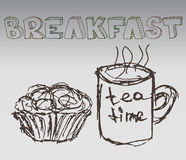 Vecteur tiré par la main d'illustration de petit déjeuner Photographie stock