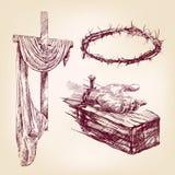 Vecteur tiré par la main de collection de christianisme illustration libre de droits