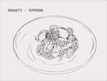 Vecteur tiré par la main de croquis de spaghetti de pepperoni Photographie stock libre de droits