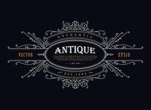 Vecteur tiré par la main de label d'insigne antique de vintage rétro illustration stock