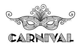 Vecteur tiré par la main de masque de carnaval Image libre de droits