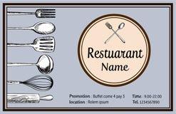 Vecteur tiré par la main de tyle de vintage de griffonnage de carte nominative de restaurant Photos stock