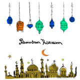 Vecteur tiré par la main Ramadan Background Images stock