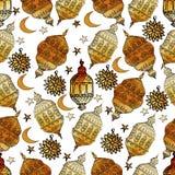 Vecteur tiré par la main Ramadan Background Configuration sans joint colorée Photo libre de droits