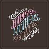 Vecteur tiré par la main heureux de la typographie EPS10 de jour de mères Images stock