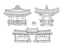 Vecteur traditionnel coréen d'architecture de Hanok Images libres de droits