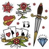 Vecteur traditionnel tatouant tiré par la main de dessin graphique de symbole de rétro de tatouage de vintage de vieille école d' Images libres de droits