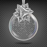 Vecteur transparent de boule de Noël Arc brillant de Toy With Snowflake And Silver d'arbre de Noël en verre Décoration de vacance Images stock