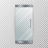 Vecteur transparent de porte en verre Symbole intérieur architectural avec l'ombre molle en Front Isolated On Checkered Backgroun Photographie stock libre de droits