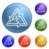 Vecteur triangulaire d'ensemble d'icônes de flèche d'énergie illustration de vecteur