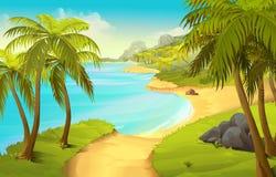 vecteur tropical de plage aussi procurable de fond illustration libre de droits