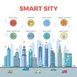 Vecteur urbain plat linéaire de route de gratte-ciel Ci de Smart illustration libre de droits