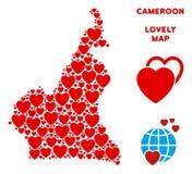 Vecteur Valentine African Cameroon Map Mosaic des coeurs Photos stock