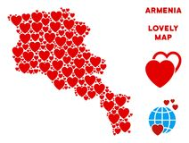 Vecteur Valentine Armenia Map Mosaic des coeurs illustration libre de droits