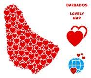 Vecteur Valentine Barbados Map Mosaic des coeurs Photographie stock libre de droits