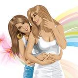 Vecteur Valentine Card avec les couples gais Photo stock