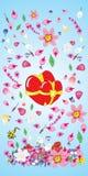 Vecteur, valentine, décoration, ornement, pétale, amour, illustrati illustration stock