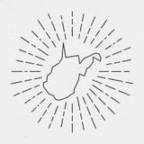 Vecteur Virginia Map Outline occidentale avec rétro Photo stock