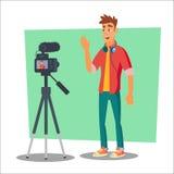 Vecteur visuel de Blogger Jeune homme gai de Blogger Concept de Vlog Clip vidéo de tir Illustration plate de bande dessinée illustration stock