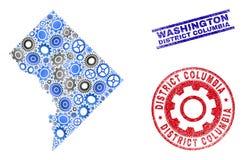 Vecteur Washington District Columbia Map de collage de dent et joints grunges illustration stock