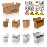 Vecteurs de boîte en carton d'expédition Images stock