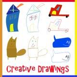 4 vecteurs de dessin d'enfant créatif illustration libre de droits