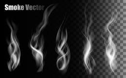Vecteurs de fumée sur le fond transparent Images stock