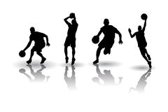 Vecteurs de silhouette de basket-ball Photos libres de droits