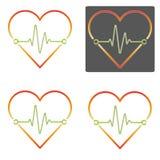 Vecteurs plats multicolores de conception de battement de coeur avec le divers outli Photos stock
