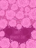 Vectical greeting card pink Happy Women`s day. Vectical greeting card pink roses Happy Women`s day royalty free illustration