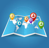 Vectior World Map with color geo location pins Royalty Free Stock Photos