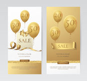 Vectir set of stylish vertical banners with paper shopping bag, golden bow, ribbons and balloons. Stock Photography
